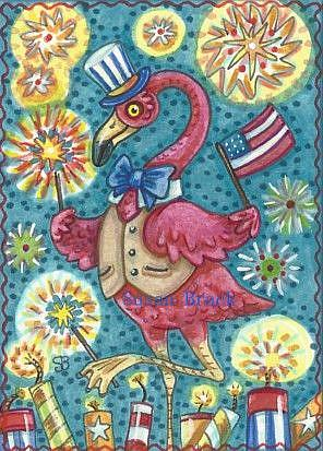 Art: FLAMINGOES GET A BANG OUT OF THE FOURTH OF JULY by Artist Susan Brack