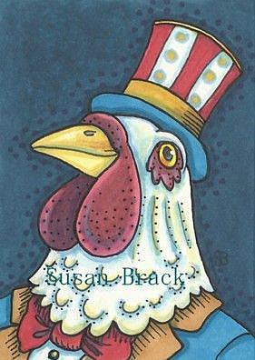 Art: BORN IN THE USA ROOSTER by Artist Susan Brack