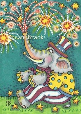 Art: ONLY CLOWNS HAVE A TRUNK FULL OF FIREWORKS by Artist Susan Brack