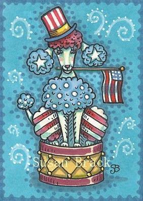 Art: PATRIOTIC POODLE SHOW by Artist Susan Brack