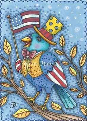 Art: YANKEE DOODLE TWEET by Artist Susan Brack