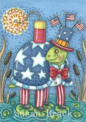 Art: BANGS ARE BIG ON THE 4TH OF JULY by Artist Susan Brack