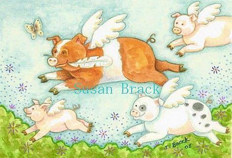Art: WHEN PIGS FLY 2 by Artist Susan Brack