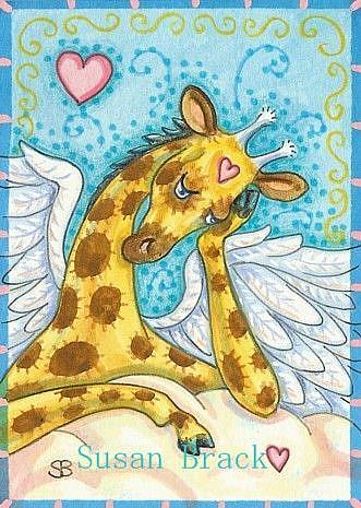 Art: ALL GOOD GIRAFFES GO TO HEAVEN by Artist Susan Brack