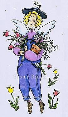 Art: COUNTRY ANGEL FLOWERS by Artist Susan Brack