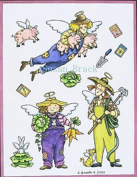 Art: GARDEN ANGELS by Artist Susan Brack