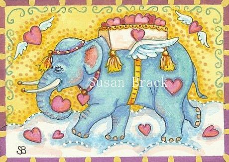 Art: CUPIDS BLUE ELEPHANT by Artist Susan Brack