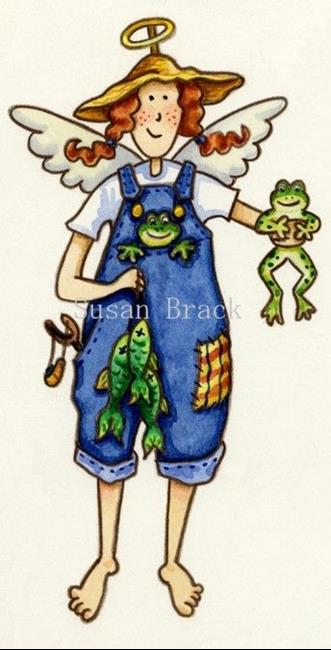 Art: Country Frog and Angel by Artist Susan Brack