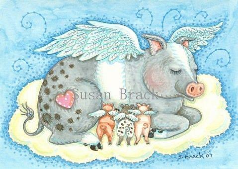 Art: ALL GOOD PIGLETS GO TO HEAVEN by Artist Susan Brack