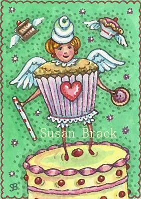 Art: CUPCAKE ANGEL by Artist Susan Brack