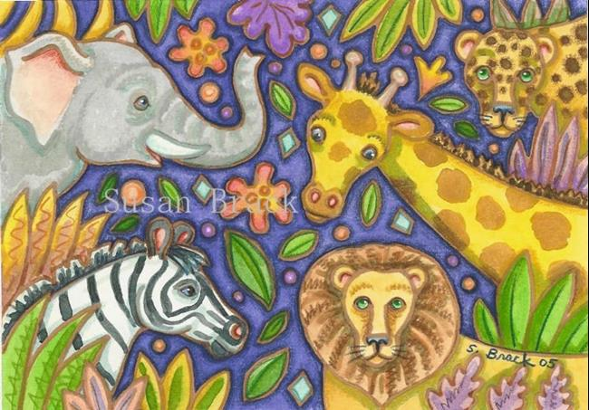 Art: JUNGLE PARTY by Artist Susan Brack