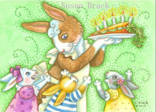 Art: BIRTHDAY BUNNIES by Artist Susan Brack