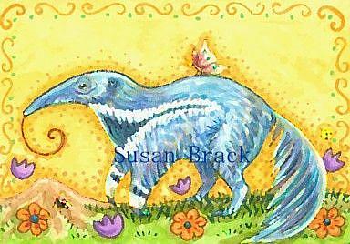 Art: GALLOPING BLUE ANTEATER by Artist Susan Brack