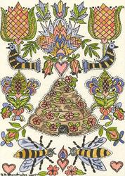 Art: FRAKTUR,BEE SKEP,BIRDS,& OF COURSE BEES by Artist Theodora Demetriades