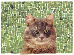 Art: MOSAIC WITH CAT by Artist Theodora Demetriades