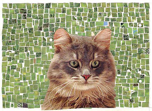 Art: MOSAIC WITH CAT by Artist Theodora Demetriades