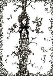 Art: TREE HOUSE LADY ACEO by Artist Nata ArtistaDonna