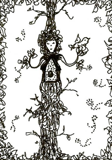 Art: TREE HOUSE LADY ACEO by Artist Nata Romeo ArtistaDonna