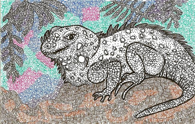 Art: Iguana by Artist Nata Romeo ArtistaDonna