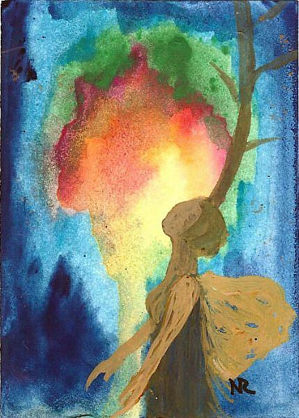 Art: ACEO Tree#18 original from artist watercolor/acrylic by Artist Nata ArtistaDonna