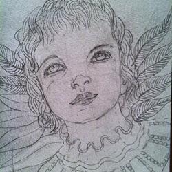 Art: Touched by An Angel (sketch) by Artist Nata ArtistaDonna