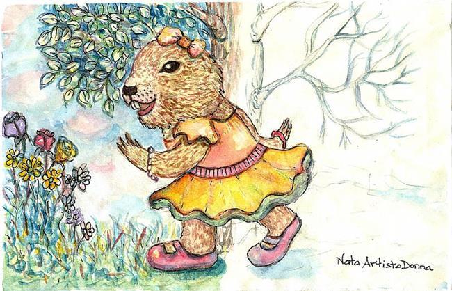 Art: Phyllis Groundhog Day! by Artist Nata ArtistaDonna