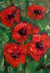 Art: Five Poppies SOLD by Artist Terri L West