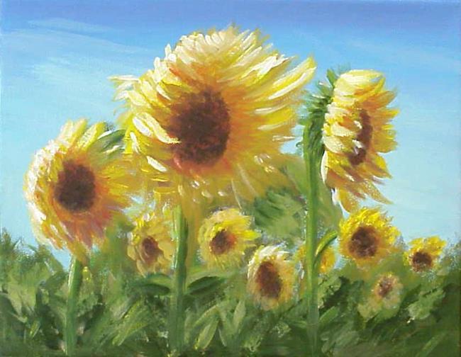 Art: ACEO Art Card PRINT Sunflower Field #1 SOLD by Artist Terri L West