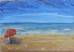 Art: Left Red Beach Umbrella SOLD by Artist Terri L West