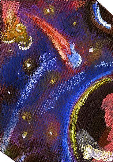 Art: Spacepod ATC ACEO by Artist Caroline Lassovszky Baker