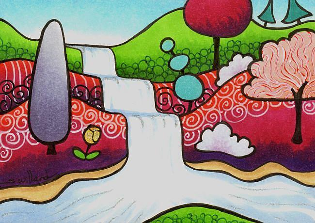 Art: Cascading falls by Artist Sandra Willard
