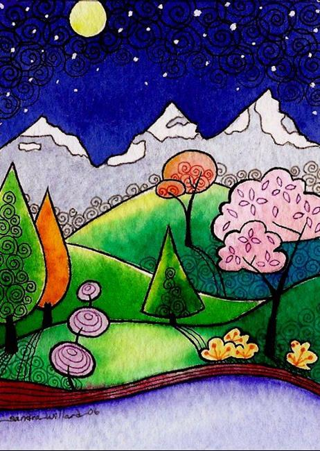 Art: WI-60 - Stars and mountains by Artist Sandra Willard