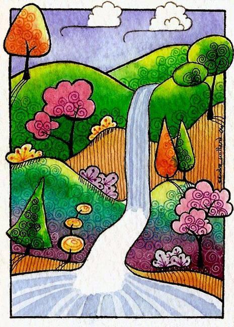 Art: WI-63 - The falls by Artist Sandra Willard