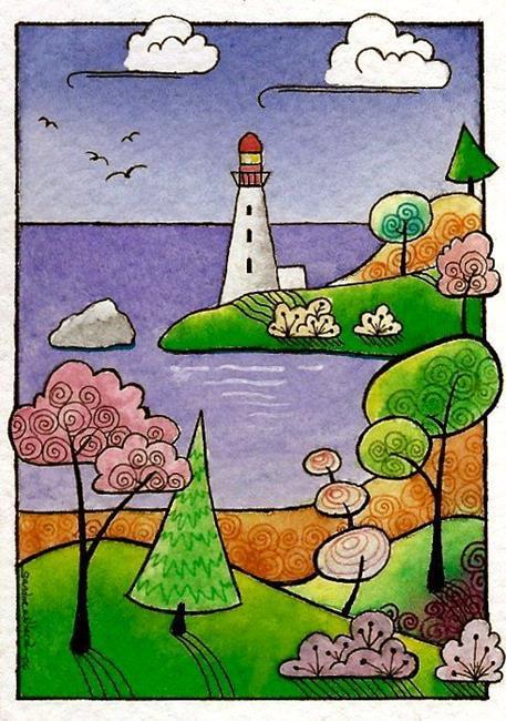 Art: WI-69 - The lighthouse by Artist Sandra Willard