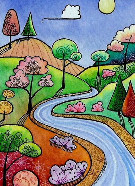 Art: WI-71 - The winding river by Artist Sandra Willard
