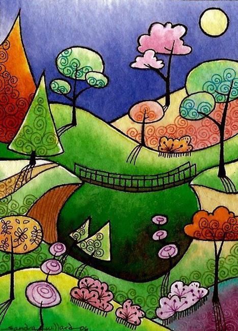 Art: WI-75 - Suspension bridge by Artist Sandra Willard