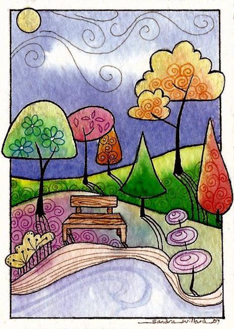 Art: WI-92 - The Park bench by Artist Sandra Willard