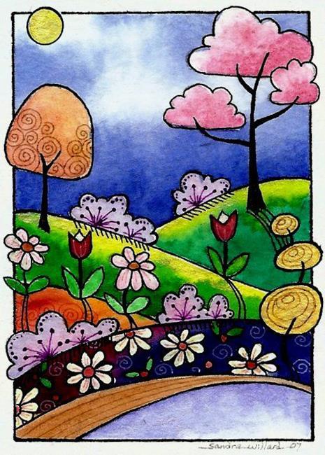 Art: WI-104 - Flower hill by Artist Sandra Willard