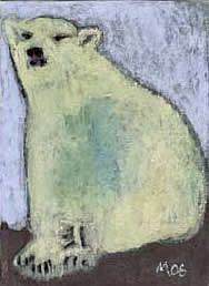 Art: Polar Bear,considering a career as a forester - caring for dwarf-sized pine by Artist Gabriele Maurus