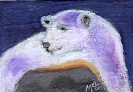 Art: POLAR BEAR, vacationing on Rocky Island - roundtrip fare by Artist Gabriele Maurus