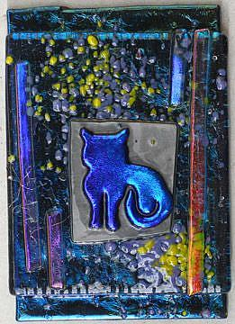 Art: Here Kitty Kitty Fused Glass ATC by Artist Deborah Sprague