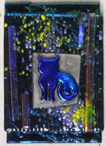 Detail Image for art Here Kitty Kitty Fused Glass ATC
