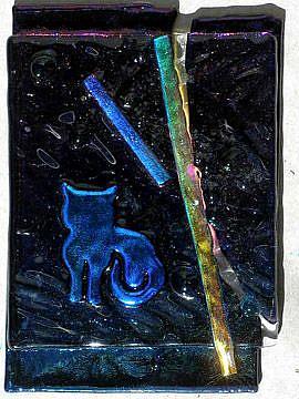 Art: ATC ACEO fused glass Blue Kitty by Artist Deborah Sprague