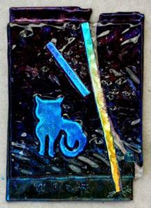 Detail Image for art ATC ACEO fused glass Blue Kitty