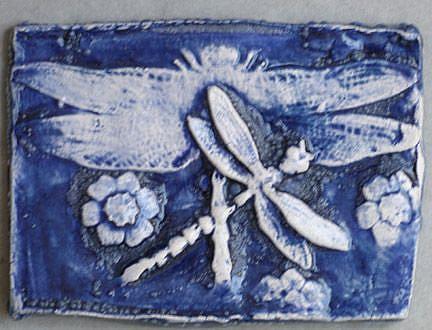 Art: Dragonfly Clay ATC by Artist Deborah Sprague
