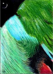 Art: Abstract Bird Art Hooded Pitta by Artist KiniArt