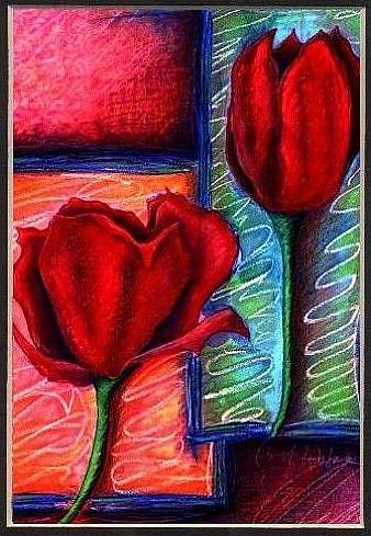 Art: Crimson Tulips by Artist Christine Wasankari