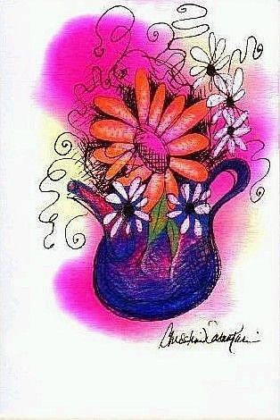 Art: Little Blue Teapot and Flowers by Artist Christine Wasankari