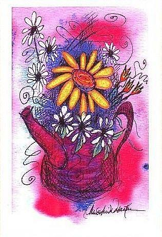 Art: Little Purple Teapot and Flowers by Artist Christine Wasankari