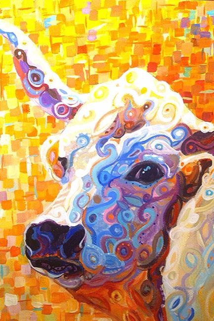Art: Funky Longhorn by Artist Karen Lynn Evans